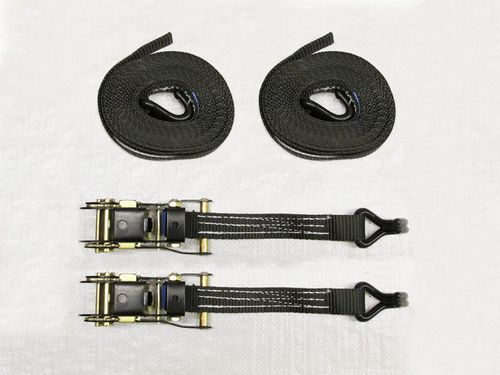 x2 Black 25MM 8M 1.5 Ton Ratchet Straps - 1500KG Metre Tie Down Lashing Claw J Hook